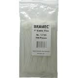 "7 1/2"" NATURAL NYLON TIES 100PK 13746 BRAMEC"