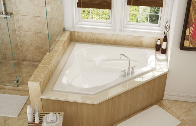 Cs60 pearl bath corner whirlpool drop in push button wht for Petite salle de bain baignoire angle
